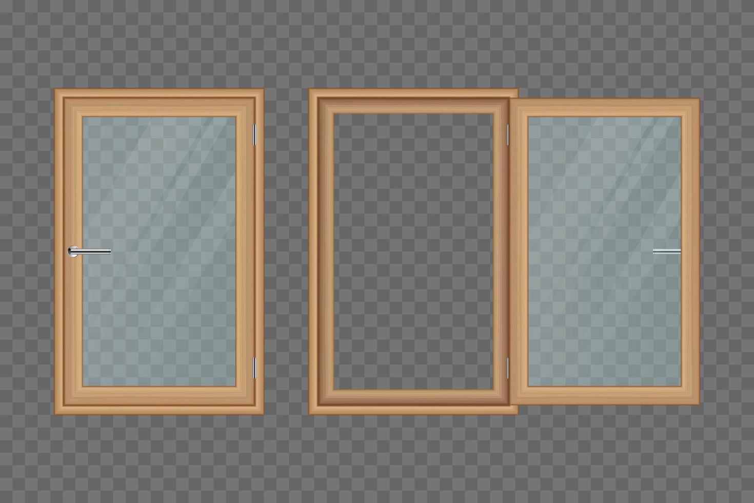 ensemble de fenêtres en bois isolé vecteur