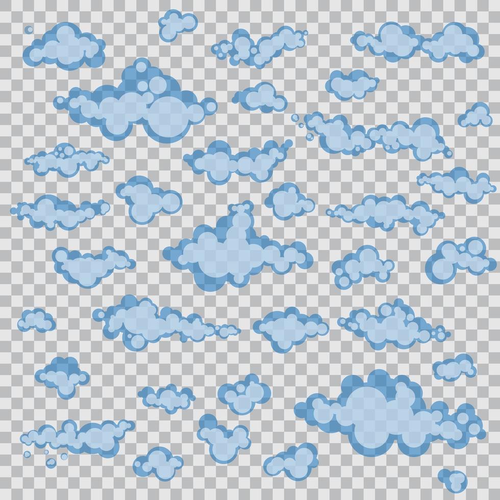 ensemble de nuages de dessins animés isolés vecteur