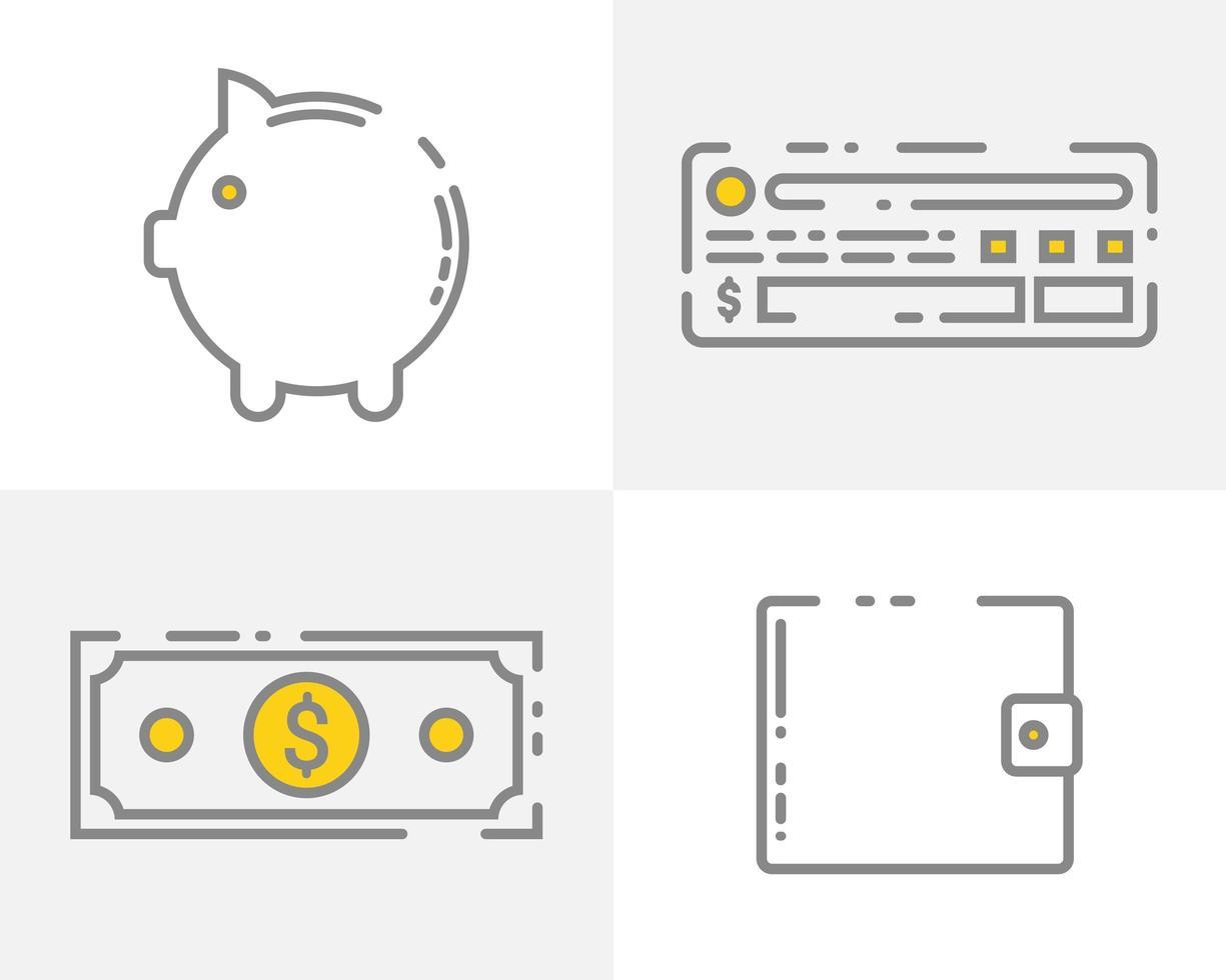 ensemble d'icônes d'argent vecteur