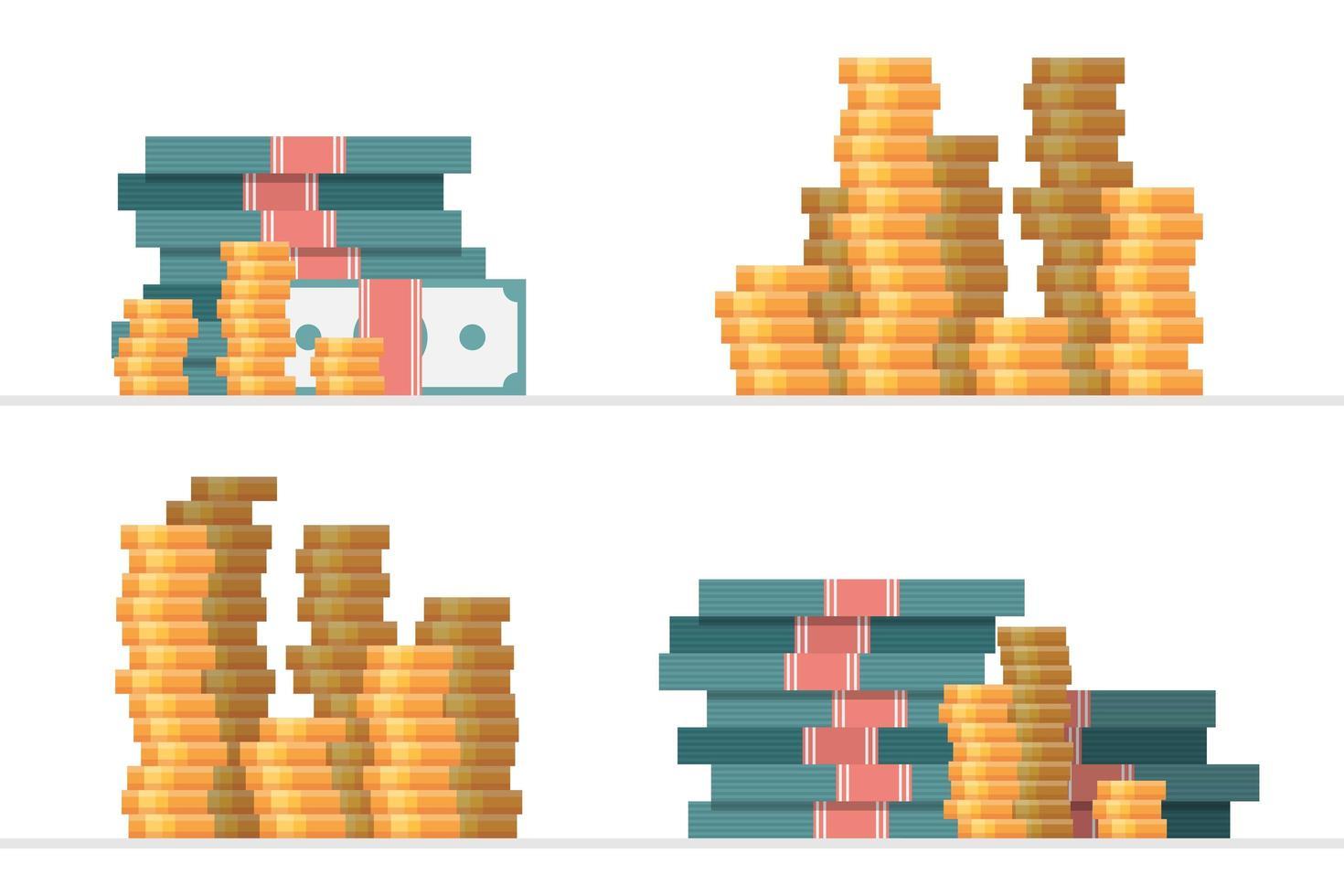 ensemble de piles d'argent vecteur