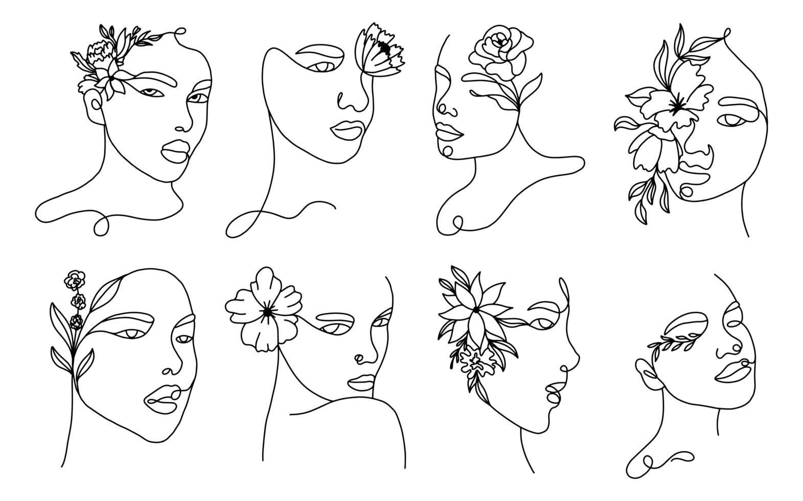 ensemble de portraits de femme linéaire vecteur