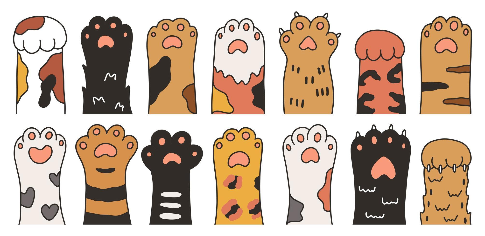 jeu de pattes de chat dessinés à la main vecteur