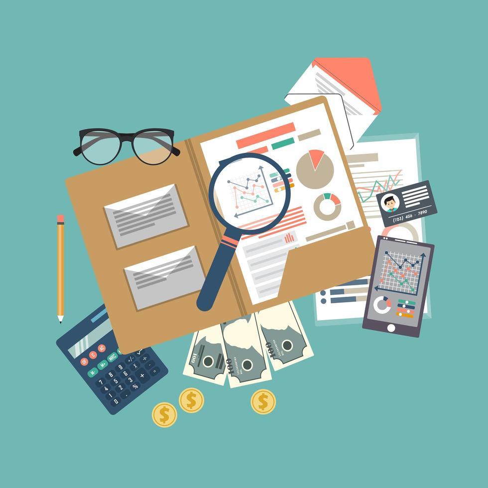 Contexte des éléments de vérification fiscale vecteur