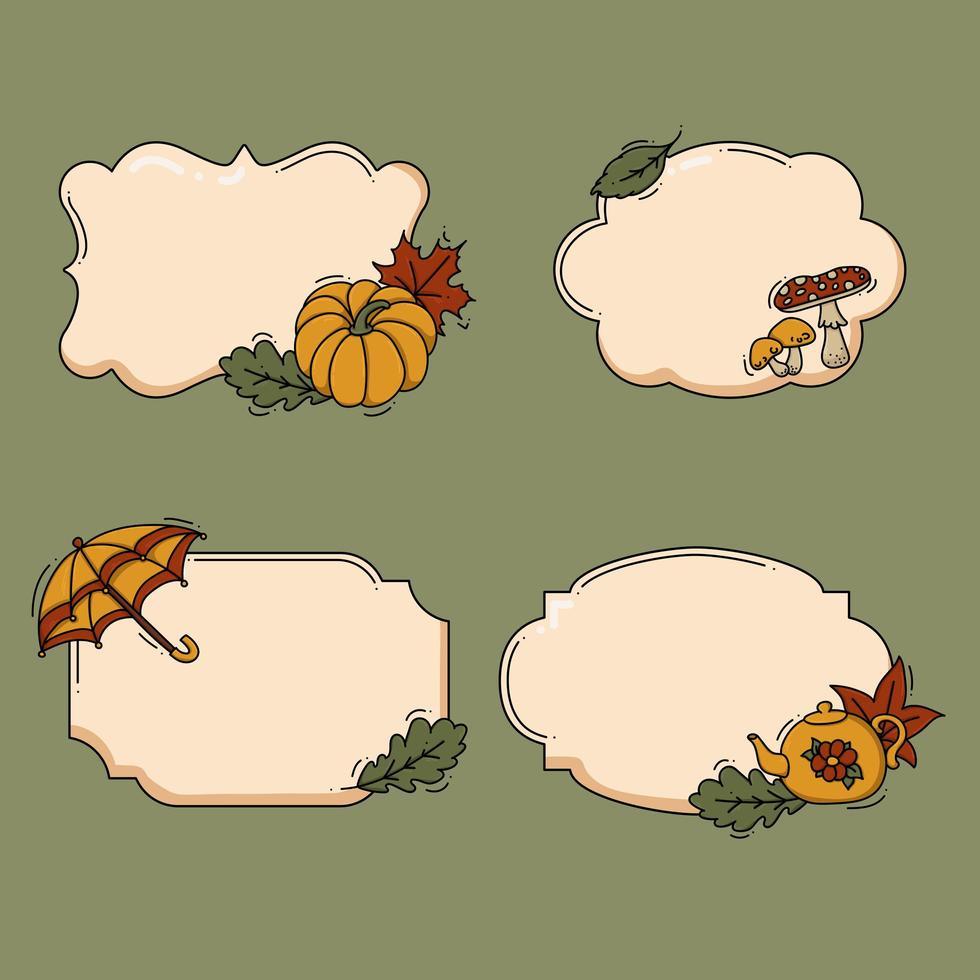 joli jeu d'étiquettes d'automne vecteur