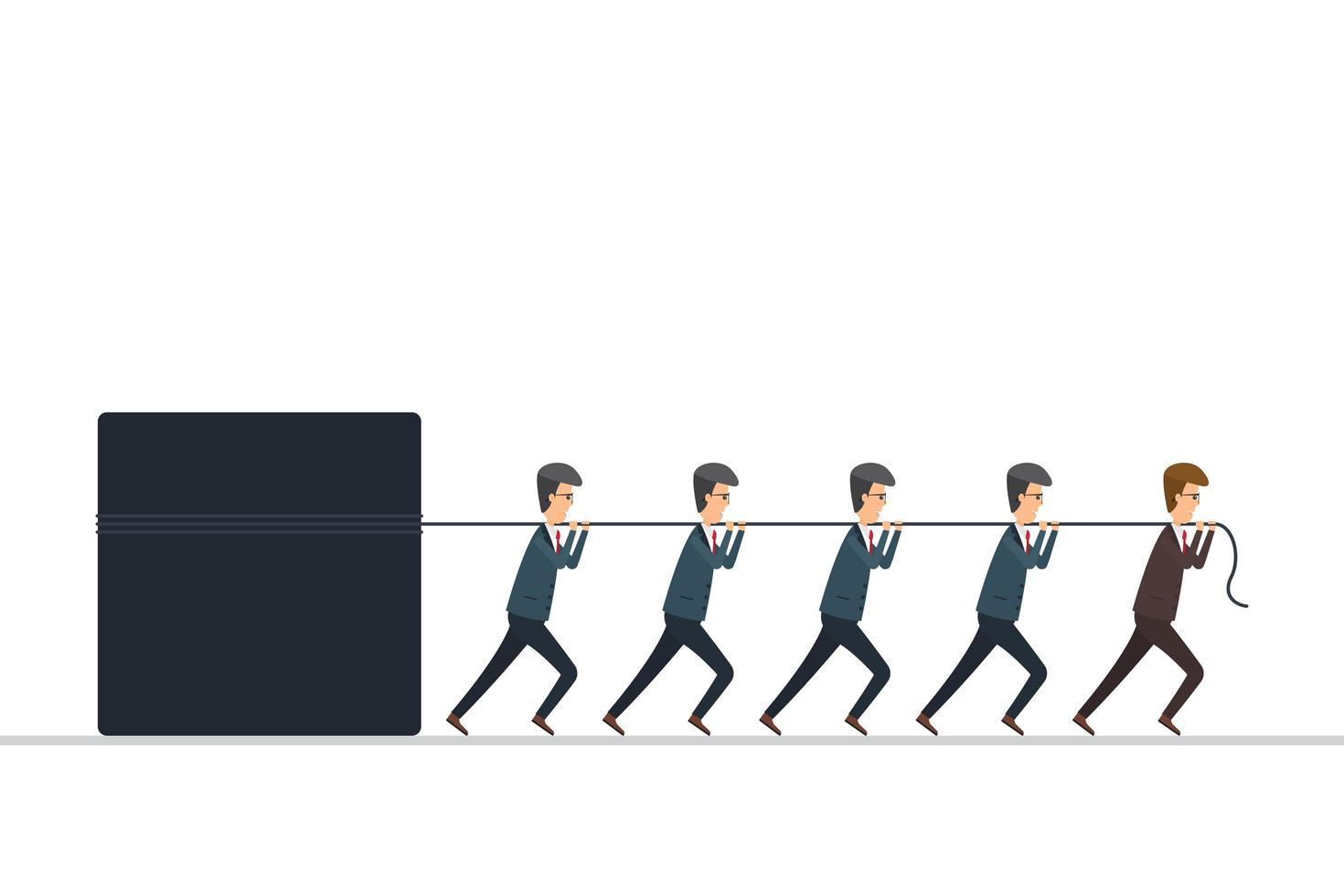 concept de leadership. leader travaille avec les employeurs. illustration vectorielle au design plat. vecteur