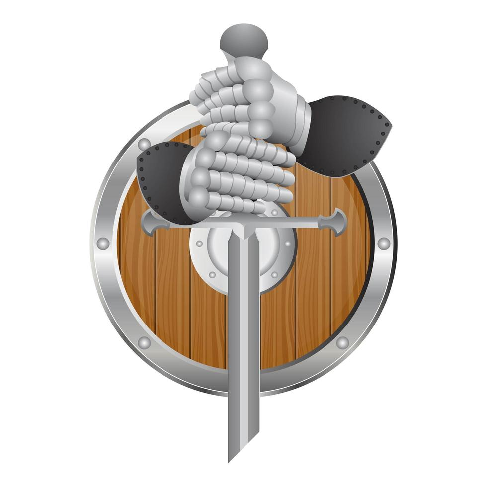 gants de chevalier, épée et bouclier isolés vecteur