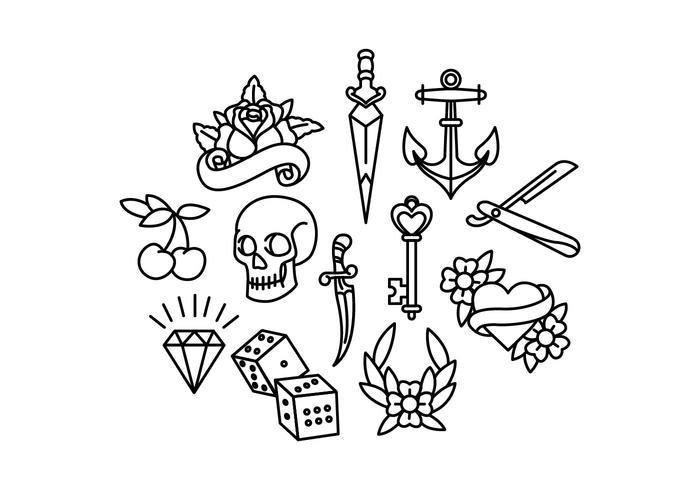 Vecteurs de tatouage de l'ancienne école vecteur