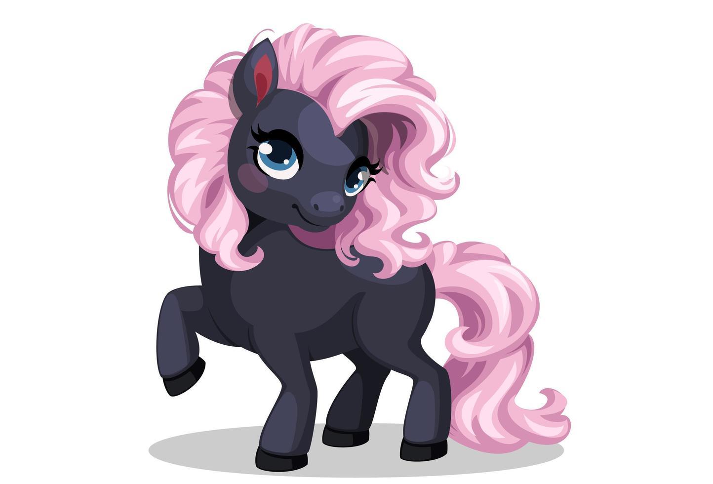 mignon petit poney noir et rose vecteur
