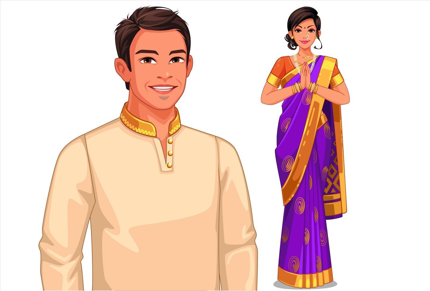 couple indien en tenue traditionnelle vecteur