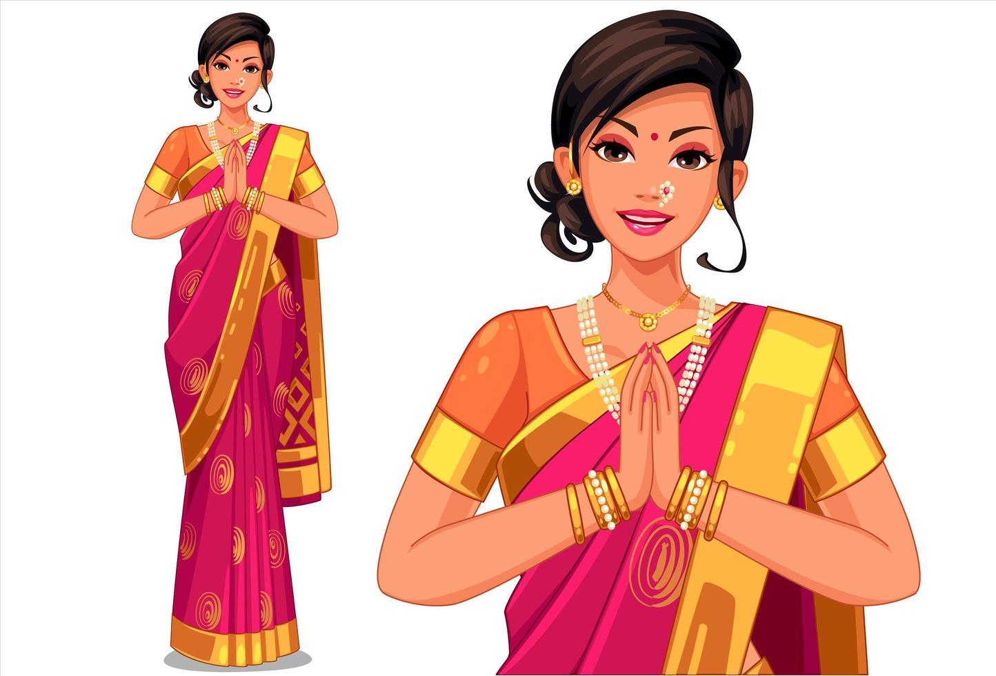 femme en vêtements traditionnels indiens vecteur