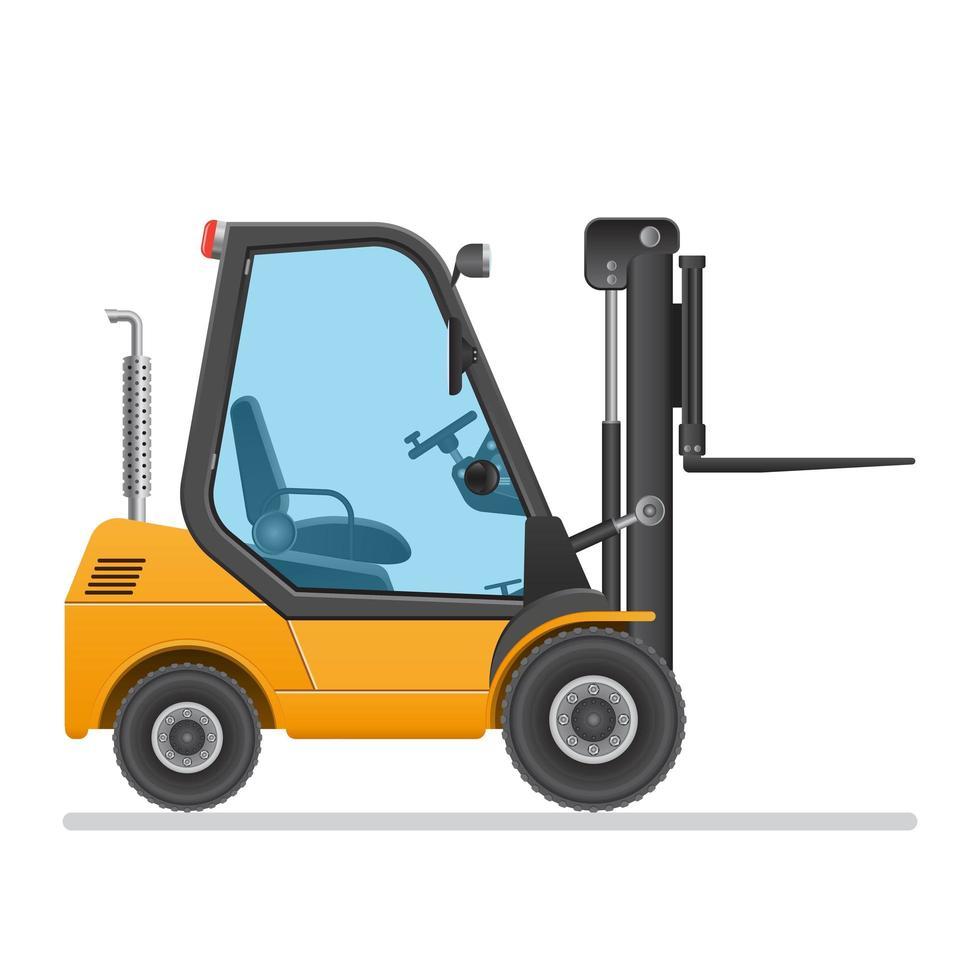 chariot élévateur jaune isolé vecteur