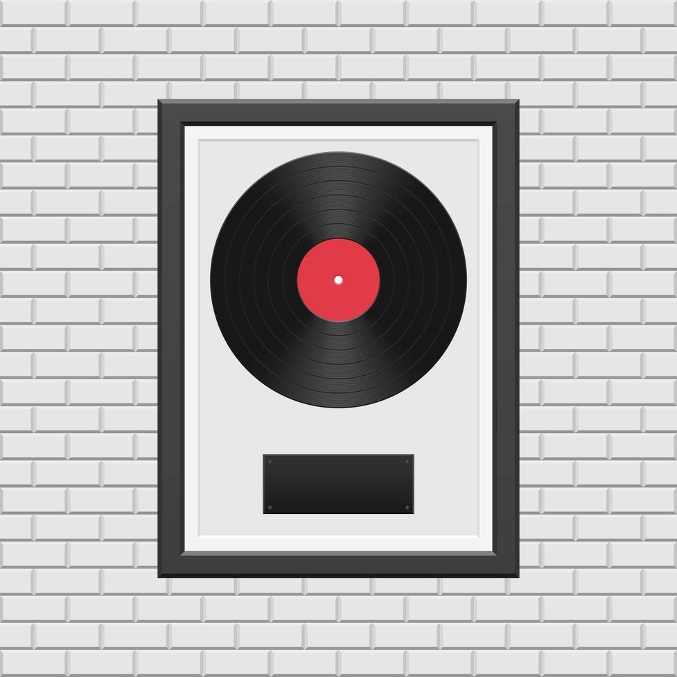 disque vinyle avec cadre noir vecteur
