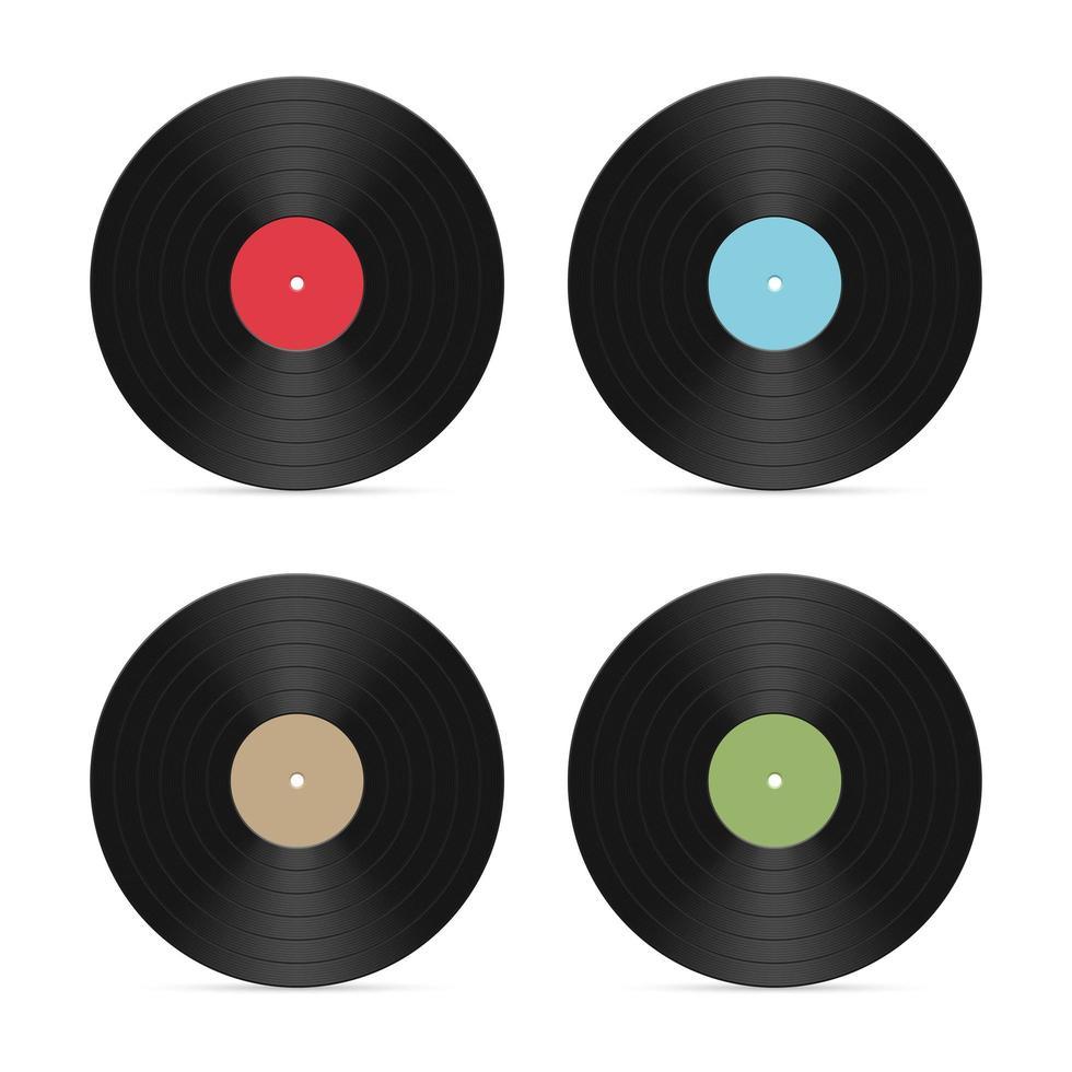 ensemble de disques vinyles isolés vecteur