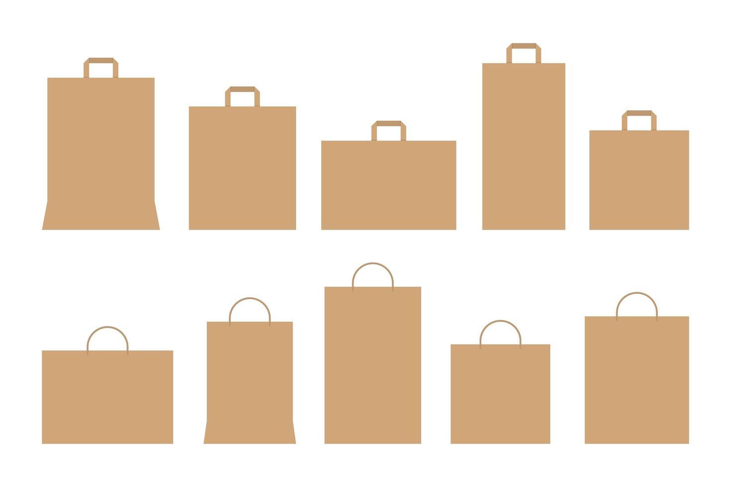 ensemble de sacs en papier vecteur