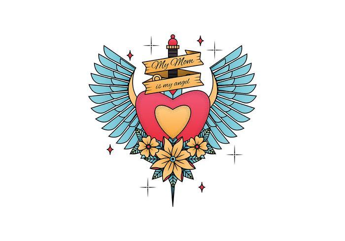 Vieille école, tatouage, vecteur, illustration vecteur