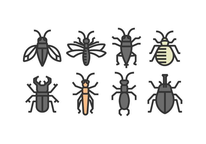 Vecteurs d'icônes d'insectes vecteur