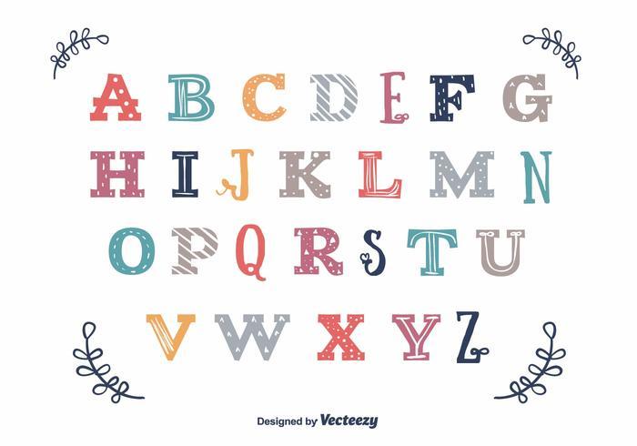 Vecteur alphabet vintage coloré
