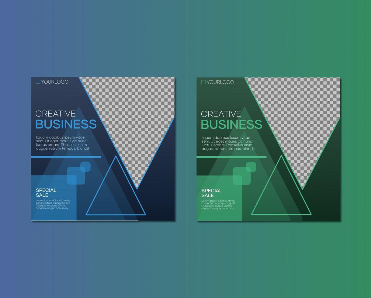modèle de bannière de médias sociaux dans un style géométrique vecteur