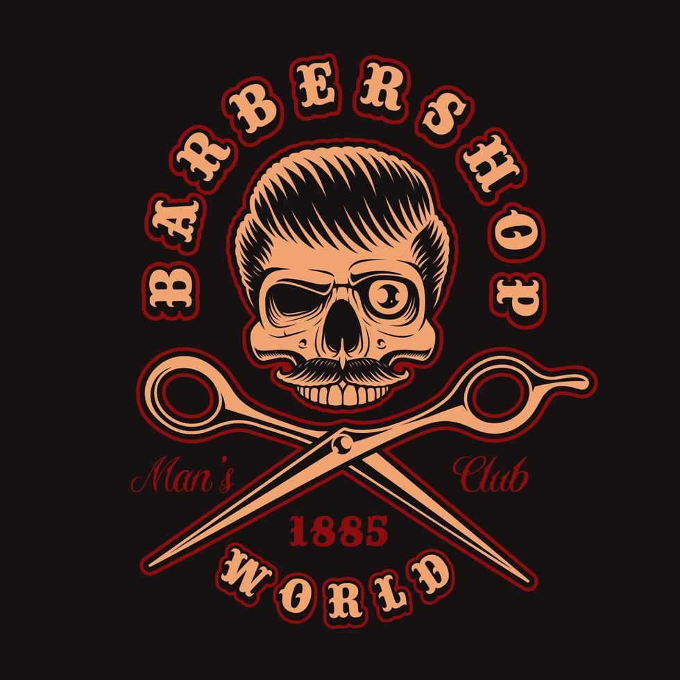crâne de coiffeur vintage avec des ciseaux pour t-shirt vecteur