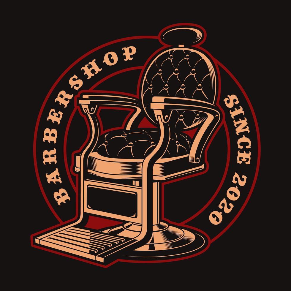 badge de chaise de salon de coiffure vintage pour t-shirt vecteur