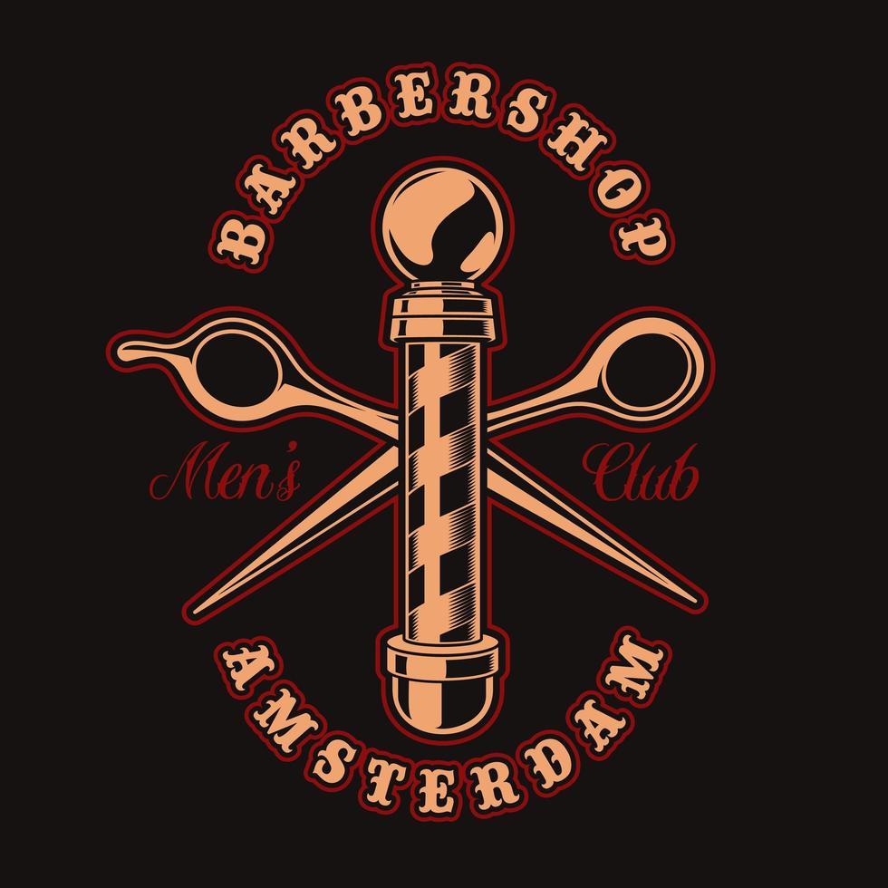 Barber shop pole et ciseaux badge vintage pour t-shirt vecteur