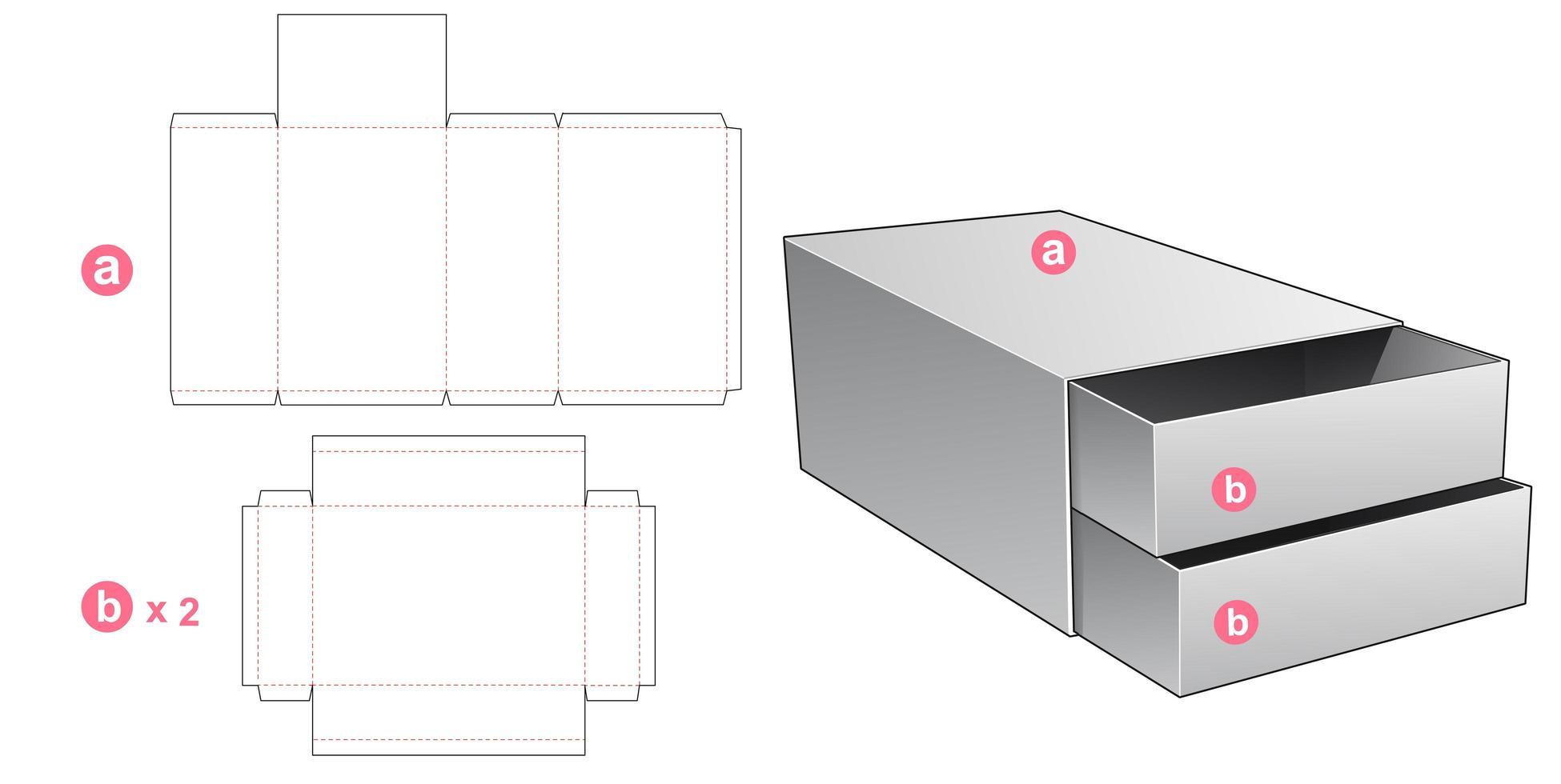 Boîte à 2 tiroirs vecteur