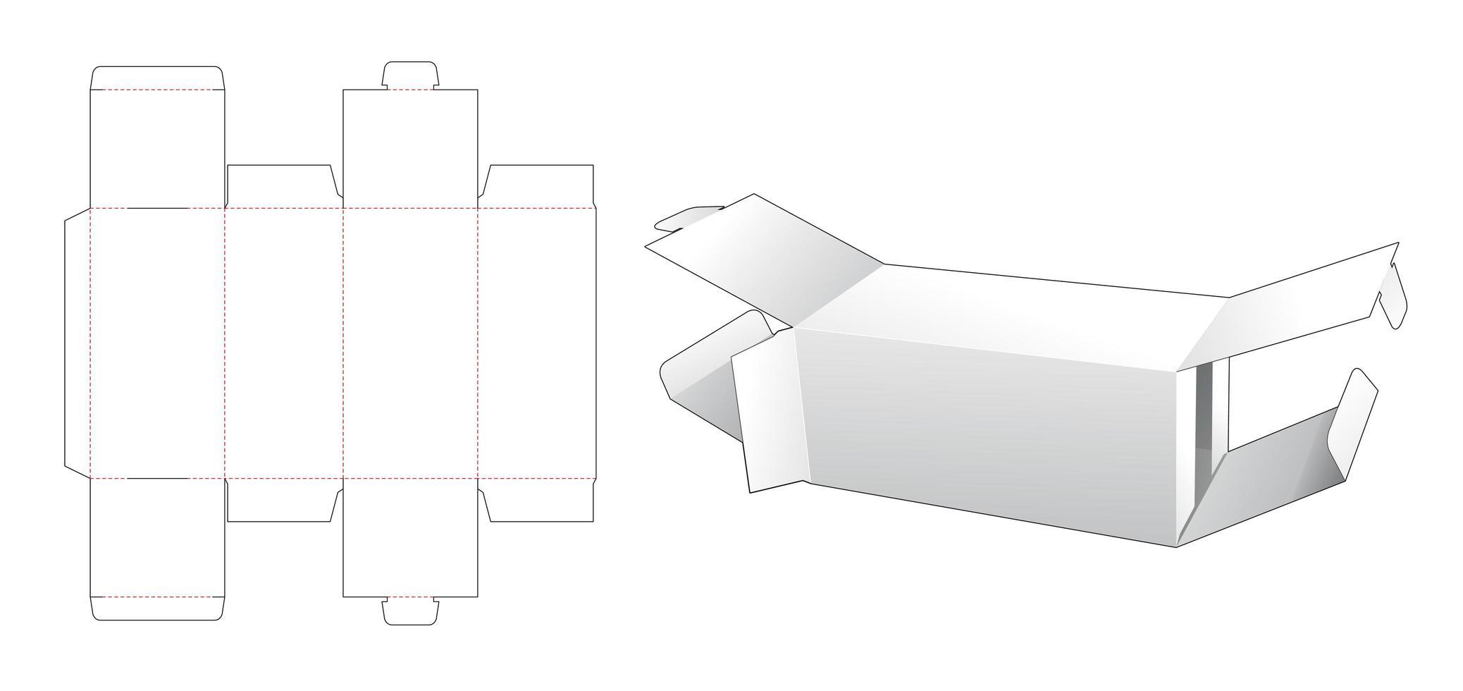 Boîte d'emballage 2 flip ends vecteur