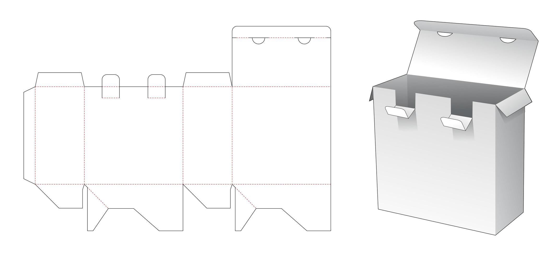 Boîte d'emballage 2 points de verrouillage vecteur