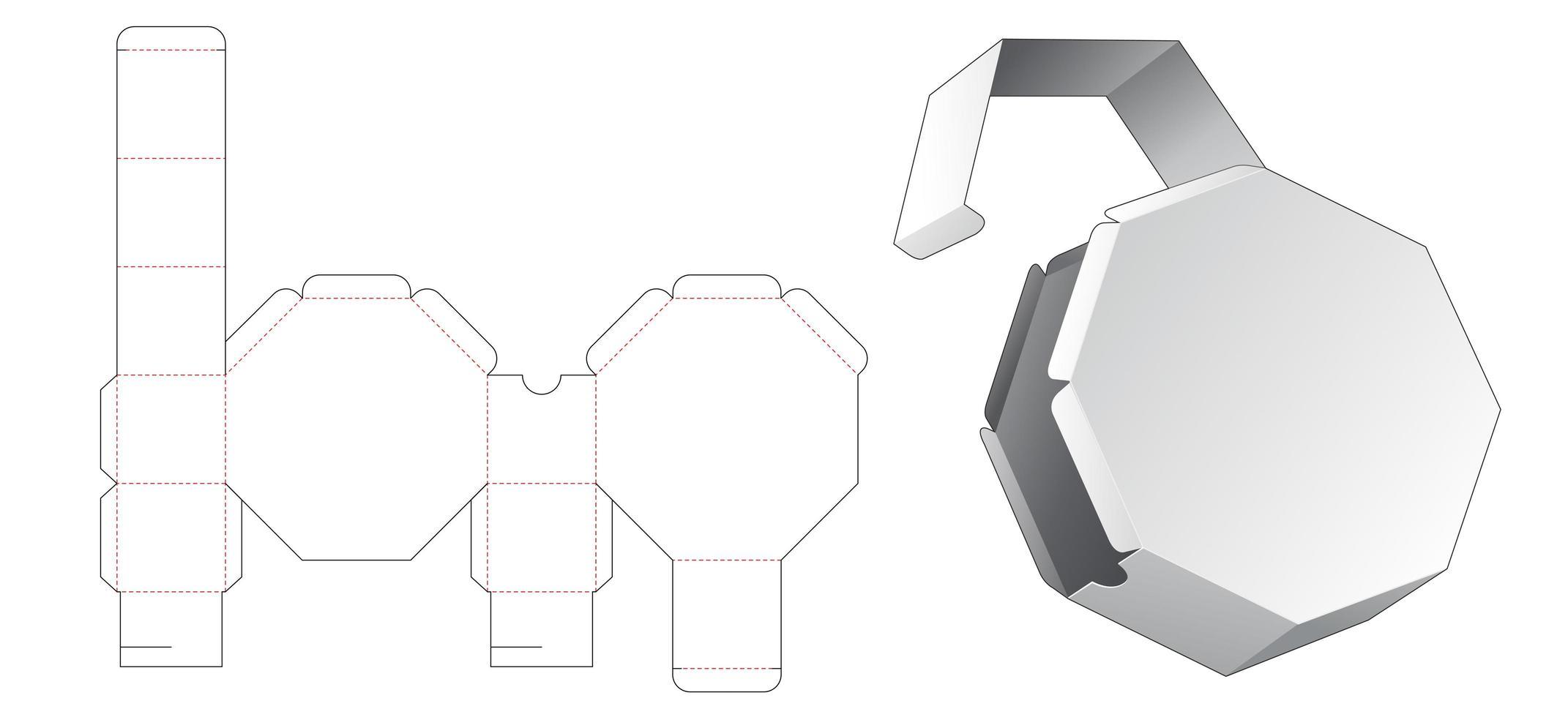 Boîte d'emballage octogonale 1 pièce vecteur