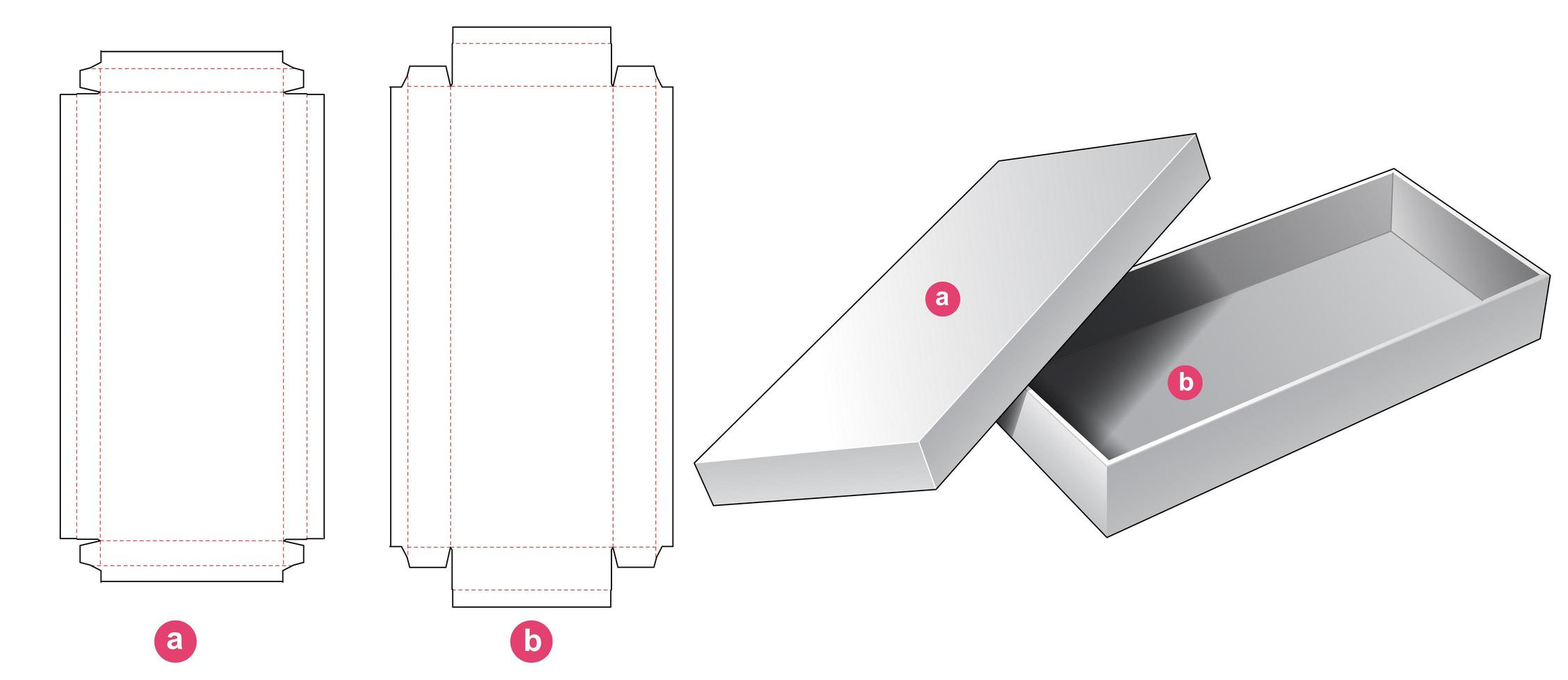Boîte longue rigide 2 pièces vecteur