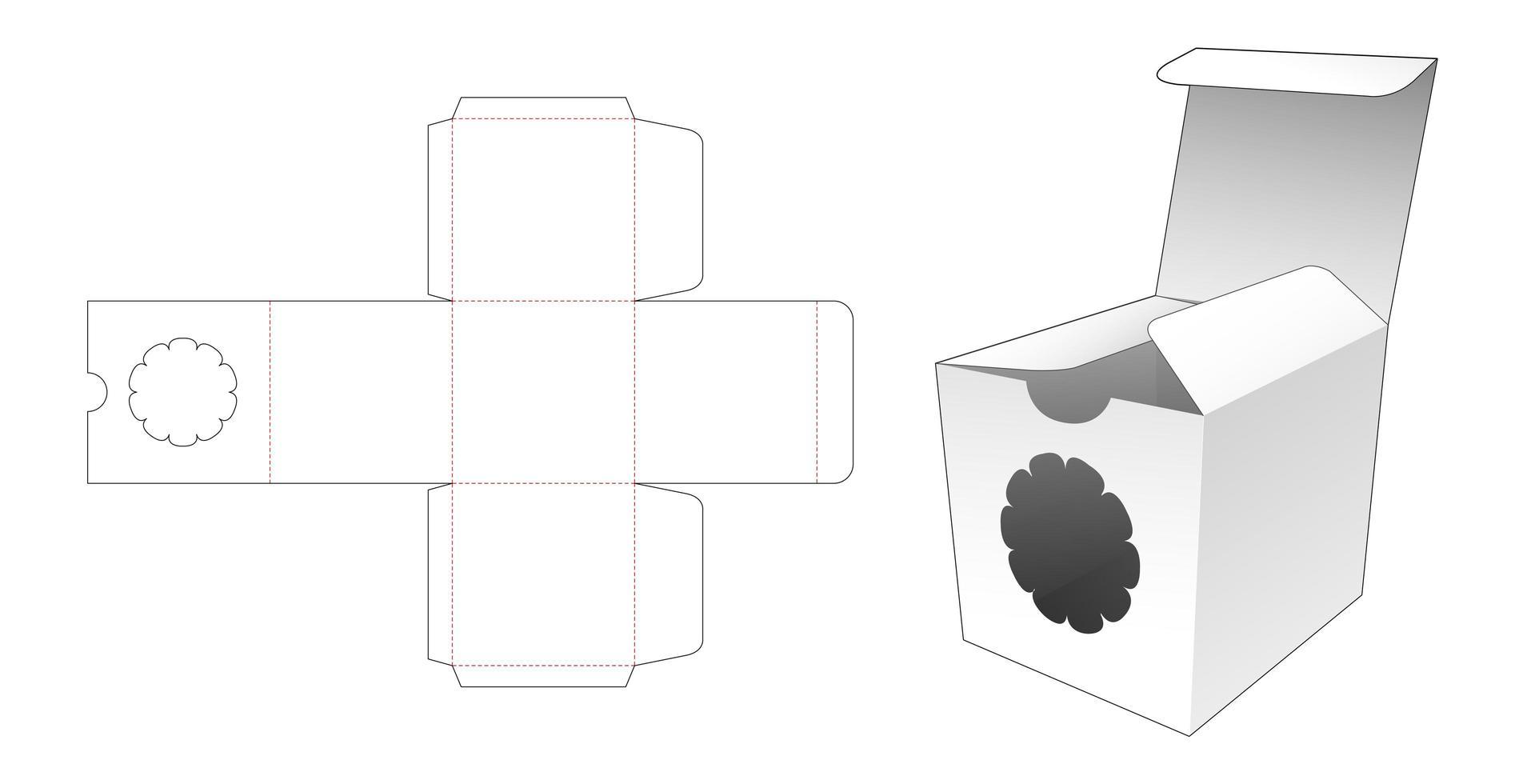 emballage carré avec fenêtre fleurie vecteur