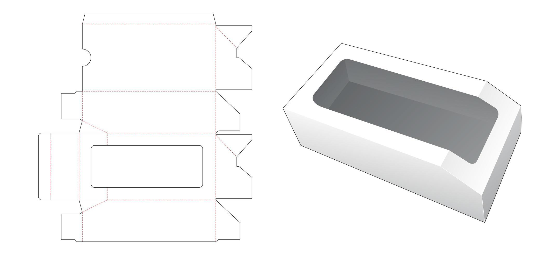1 boîte chanfreinée avec fenêtre vecteur