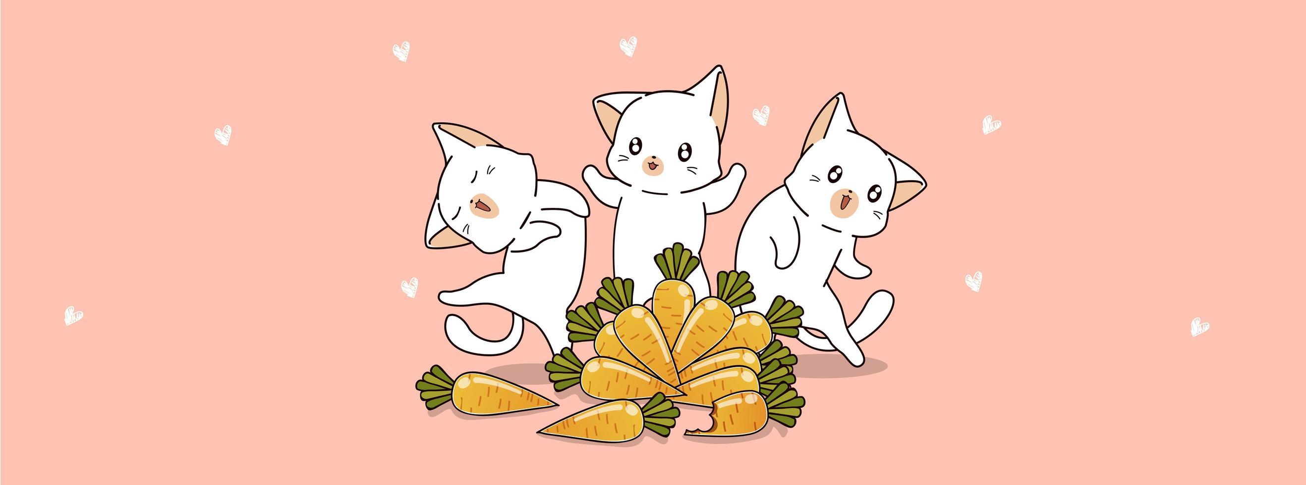 chats mignons et carottes vecteur
