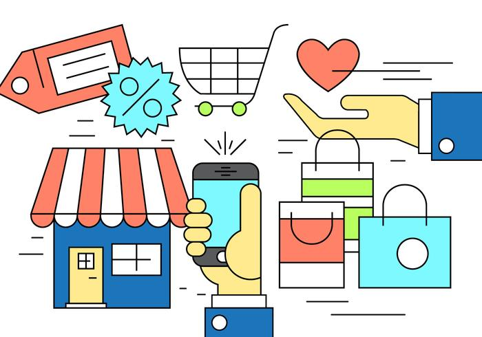 Icônes d'achats gratuits vecteur