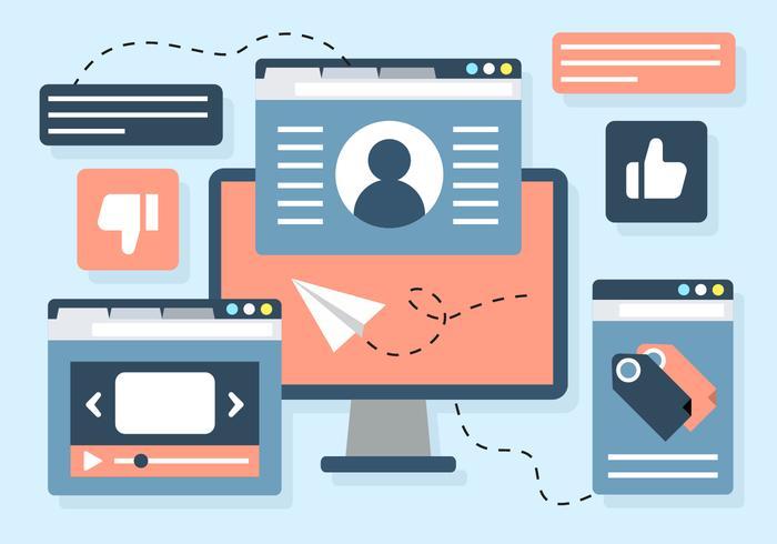 Free Digital Marketing Business Illustration Vectorisée vecteur