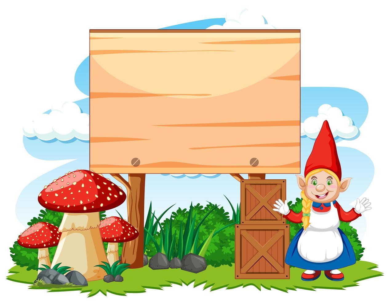 position debout de gnome à côté de la bannière vierge vecteur