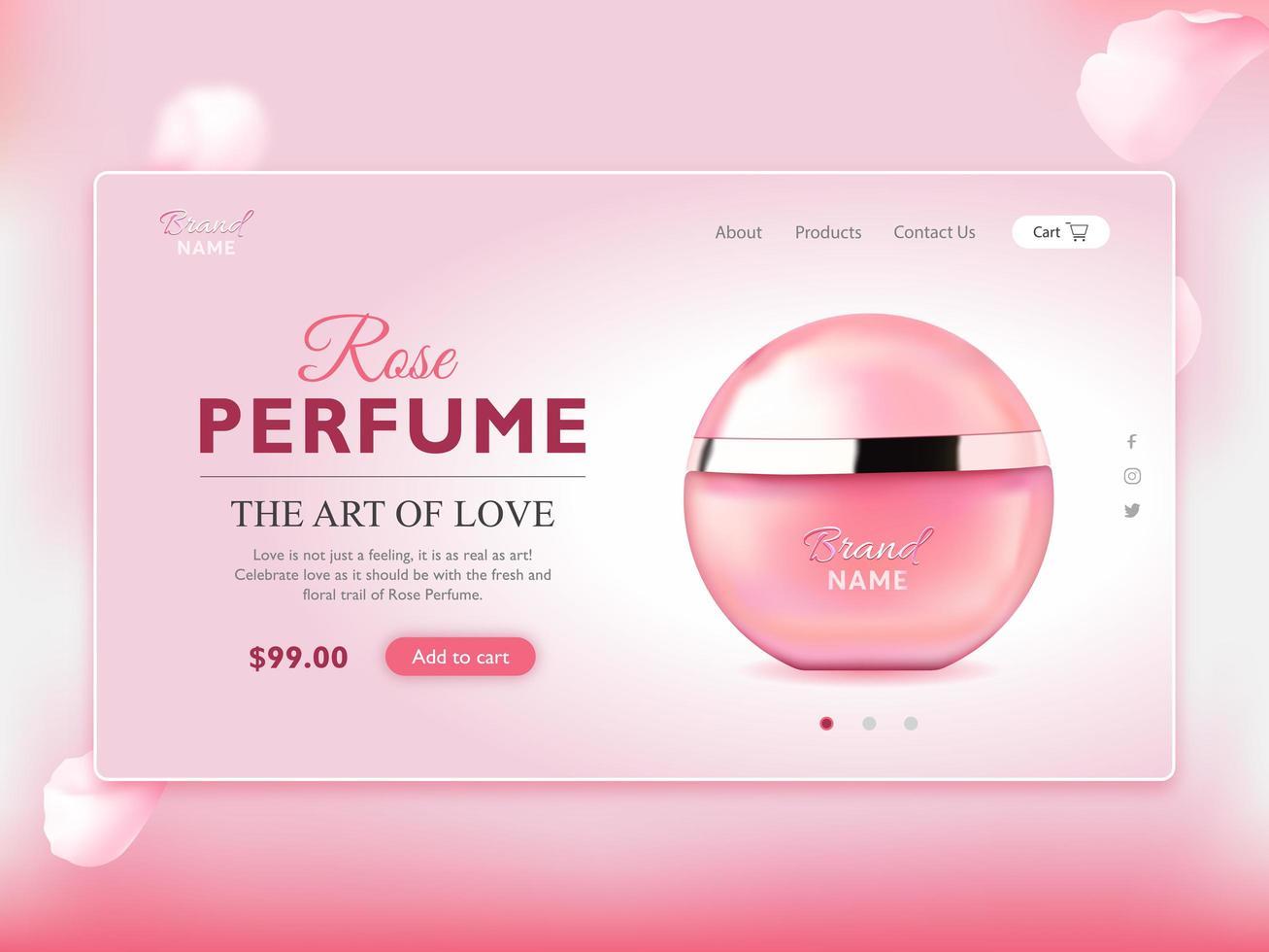 page de destination élégante bouteille de parfum vecteur