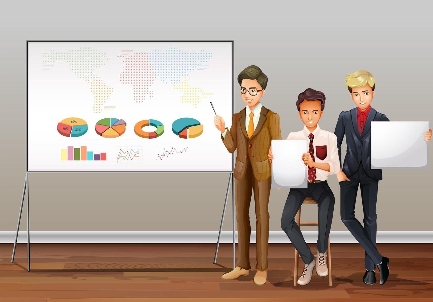 hommes d'affaires et graphiques de présentation vecteur