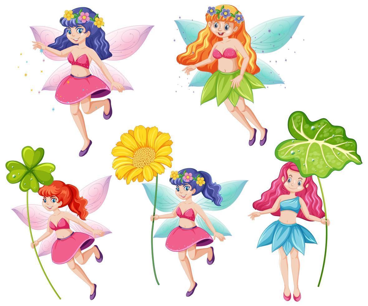 ensemble de fées mignonnes tenant des fleurs vecteur