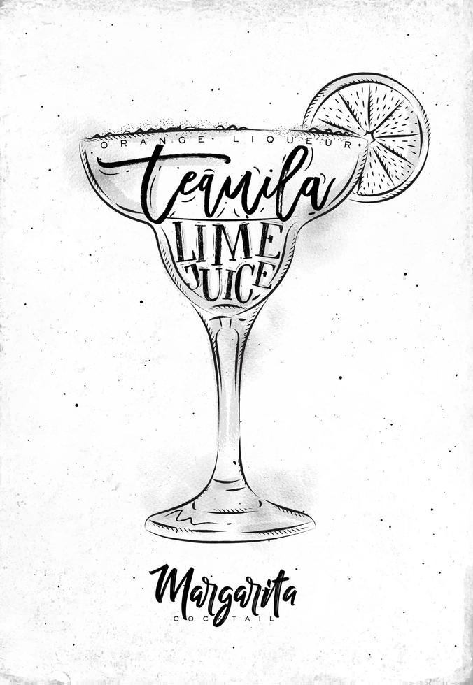 affiche blanche de cocktail margarita vecteur