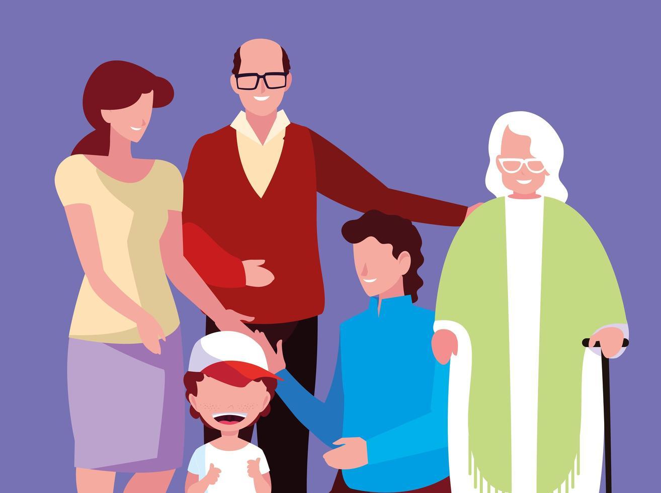 personnages de famille heureuse vecteur