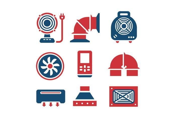 Les icônes de l'air conditionné et du compresseur d'air vecteur