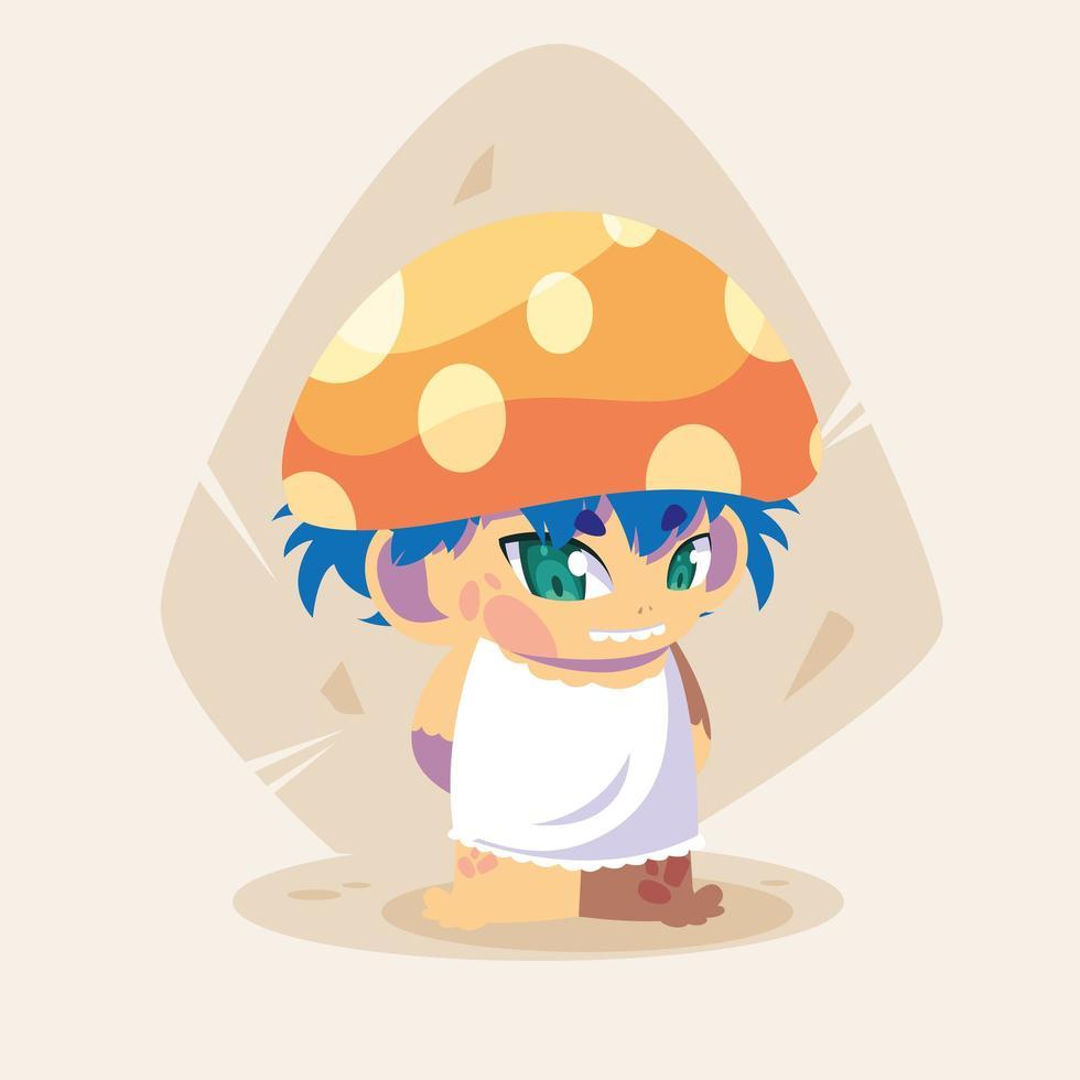 drôle de petit personnage de conte de fées champignon vecteur