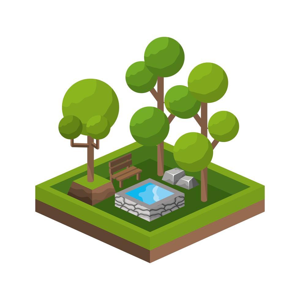 icône de parc isométrique vecteur