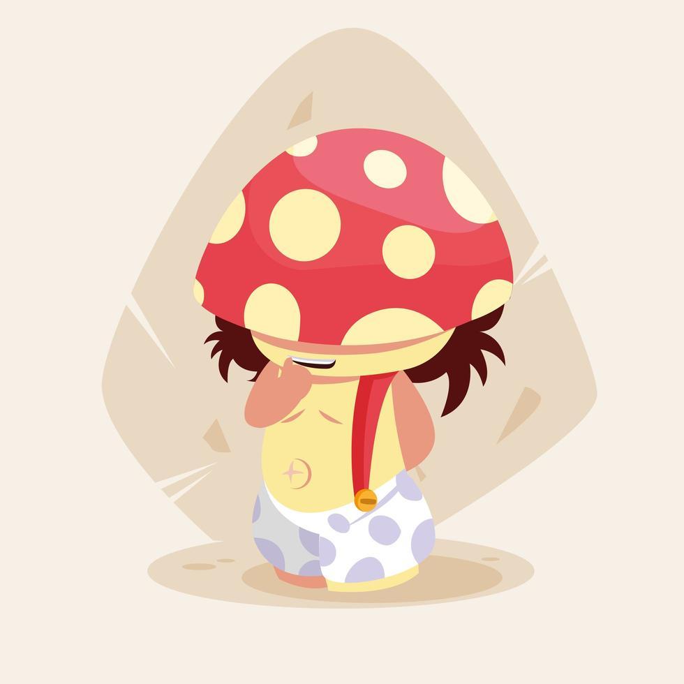 mignon petit personnage de conte de fées champignon vecteur