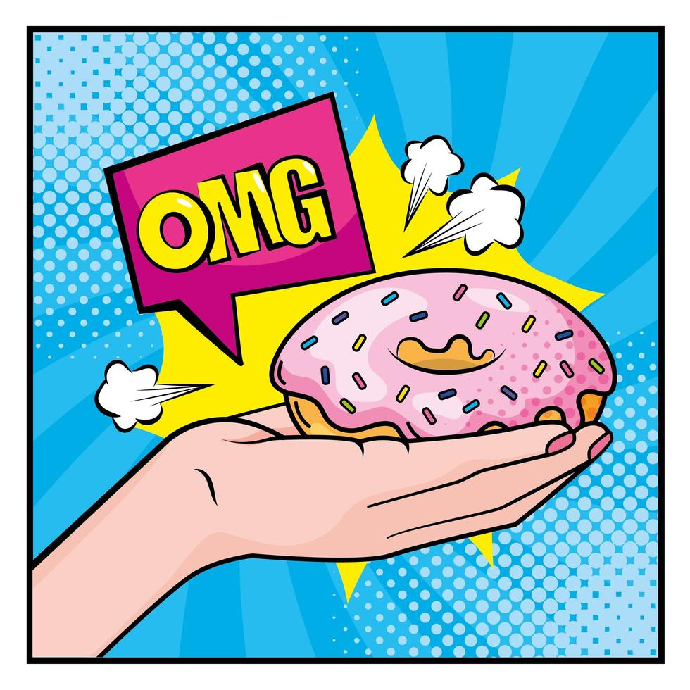 main de style pop-art tenant un beignet vecteur