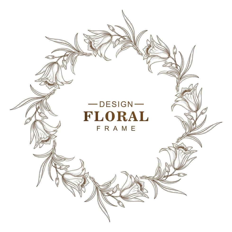 conception de cadre de fleur abstrait croquis circulaire vecteur