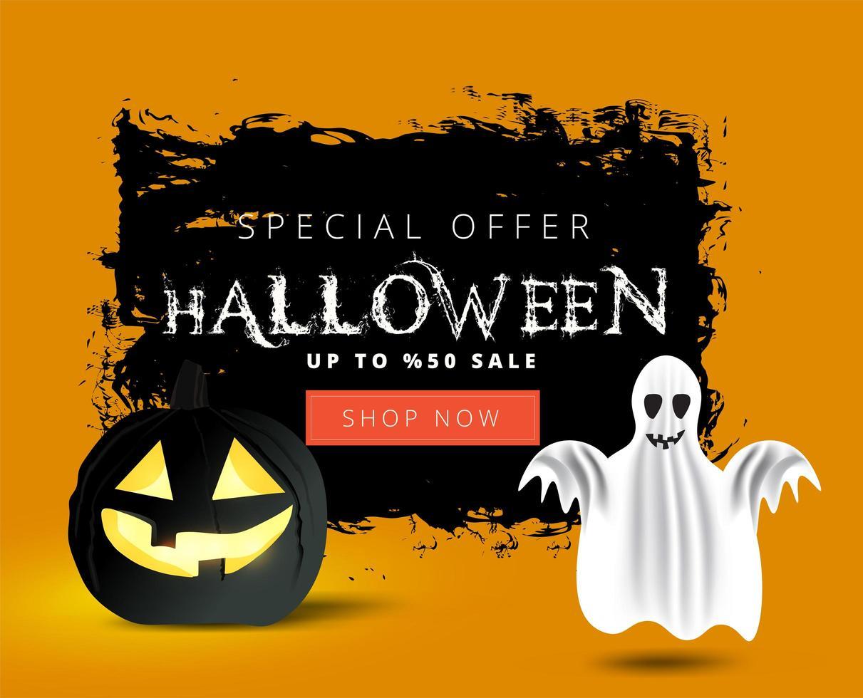bannière de vente halloween grunge avec fantôme et citrouille vecteur
