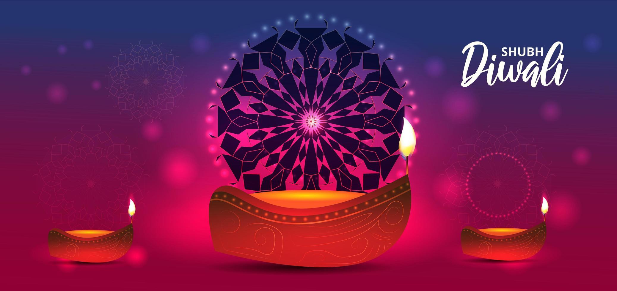 lampe à huile réaliste sur gradient pour la célébration du festival de diwali vecteur