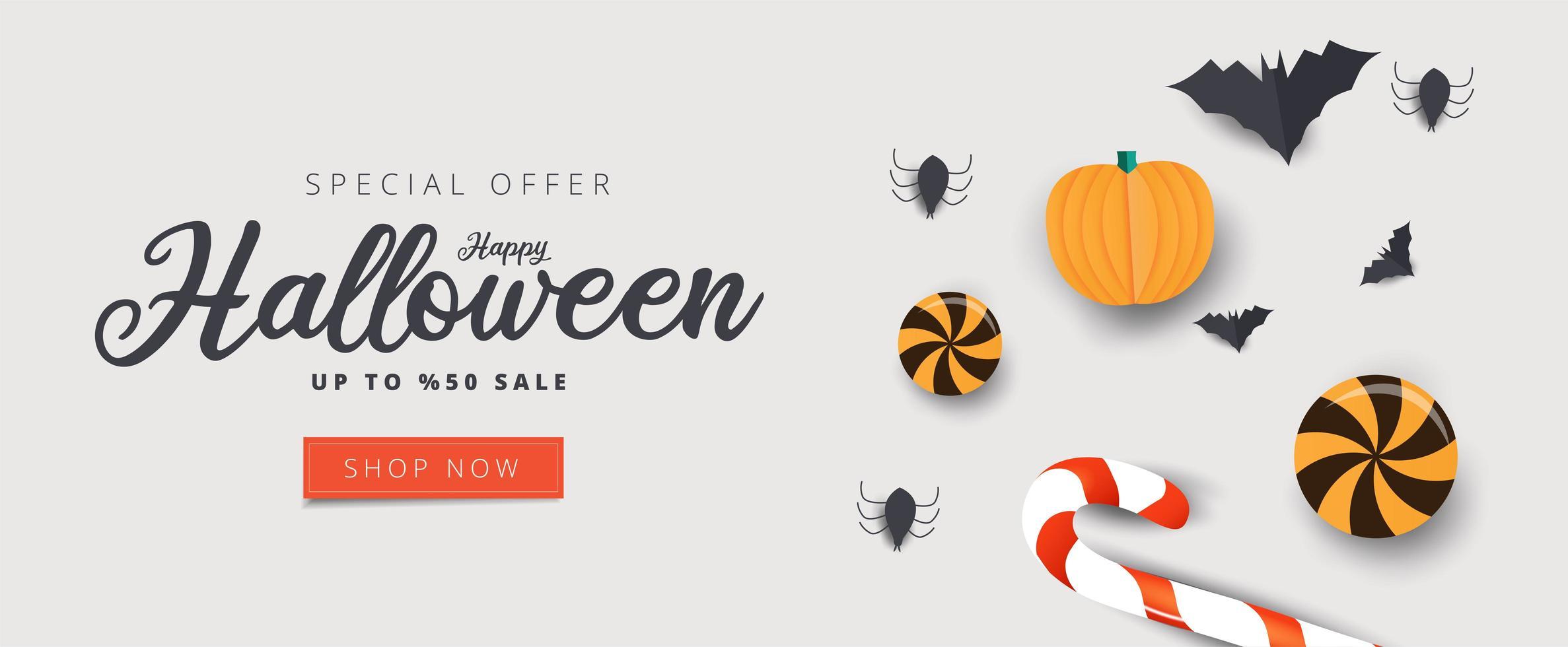 bannière de vente halloween heureux avec des bonbons, des chauves-souris et des araignées vecteur
